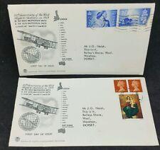 Paire 1969 anniversaire 1st vol vers l'australie stuart couvre inhabituel stamps used