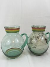 """Hand Blown Glass Pitchers Set Of 2 Green Art Glass With Air Bubbles 7"""" Tall"""