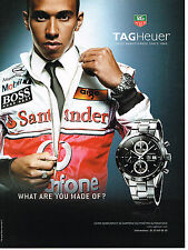 PUBLICITE ADVERTISING 114  2008  TAG HAUER montre CARRERA  LEWIS HAMILTON