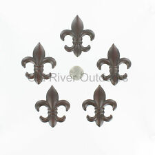 "5 pc Set 2"" Small Metal Fleur De Lis Wall Plaques / Ornaments - Saints Decor"