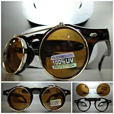 CLASSIC VINTAGE 60's RETRO Style FLIP UP SUN GLASSES Round Tortoise & Gold Frame