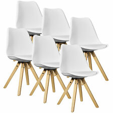 [en.casa] 6x Design Chairs Dining room White Wood Plastic imitation leather