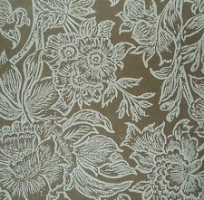 PETER FASANO Woodcut Vine Chocolate Floral Linen Remnant New