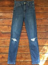 Topshop Moto Skinny Jeans Jamie Ripped Blue Sz 8 W26 To Fit L30 Nb49 Defect