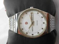 RARE VINTAGE SS DAY DATE WHITE DIAL RADO PRESIDENT MENS AUTOMATIC WRISTWATCH