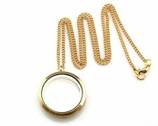 1pcs Living Memory Floating Charm Roun Locket Pendant Necklace Gold Plated #GW4