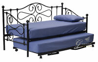 Jocelyn Black Metal Day Bed with Trundle 3FT Single Guest Beds