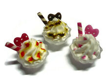 3 Ice Cream on Bowl Plastic Dollhouse Miniatures Food Bakery Dessert