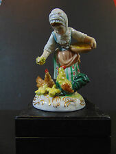 "Antique Dresden Porcelain FEEDING TIME 5"" Girl Figurine w/Rooster Chicken Chicks"