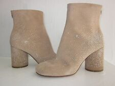 $1095 NEW MAISON MARTIN MARGIELA Tan Suede Ankle Boots SPARKLE TREND! 38 7.5 8
