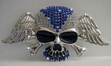 Grosses Skull & Bones Buckle, Strasssteine, Totenkopf, Gürtelschnalle