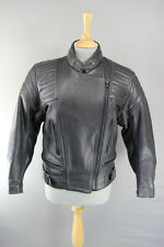 CLASSIC BRITISH MADE GEAR BLACK LEATHER BIKER JACKET SIZE 12