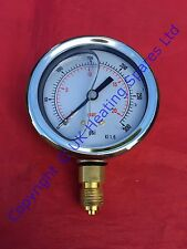 "Oil Filled Pressure Gauge 0-300 PSI, 0-20 Bar 1/4"" BSP Connection 63mm Dial"