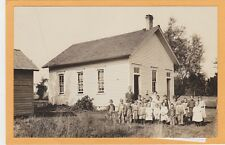 Real Photo Postcard RPPC - Teacher and Students Outside One Room Schoolhouse