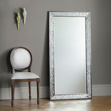 """Bronte Large Mosaic All Glass Frame Silver Full Length leaner Wall Mirror 63x31"""""""