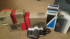 canon at-1 and 5 lens kit - all boxed. 3 Canon lens. Tamron and hoya and adapter