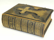 RARE 1884 CATHOLIC ANTIQUE FAMILY BIBLE HAYDOCK DOUAY RHEIMS .22KT GOLD LEATHER