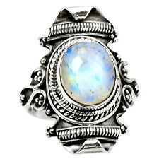 Rainbow Moonstone 925 Sterling Silver Ring Jewelry s.8.5 7713R