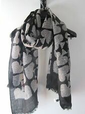 Kate Spade Black & White Textures Wool Polka Dot Spade Scarf *pre-owned*