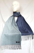 ** nouveau ** Heritage cachemire double face bleu ombre écharpe - 100% pure cashmere