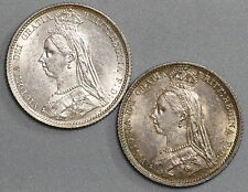 1887 GREAT BRITAIN TWO BU Silver 6 Pence Victoria Jubilee Coins (16053002R)