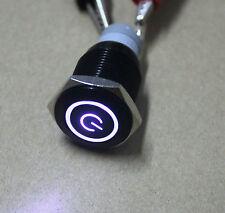 19mm Black Case White Power/Angel Eye LED MOMENTARY 12V Push Button fu