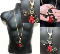 Hip Hop Iced Out Cuban Link Chain Red Crystal Black Gun Money Thug Guy Gangster