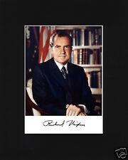 Richard Nixon Autograph Black Matted Photo Portrait Picture