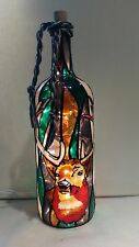 Deer Hunter Bottle Lamp Hand Painted Lighted Stained Glass look