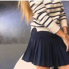 Zara STUDIO Navy Blue Box Pleat Mini Skirt Size LARGE BNWOT