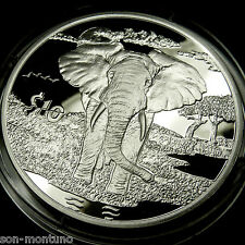 "2007 ""African Animals"" ELEPHANT PROOF  Sierra Leone Bank Sterling Silver Coin"