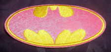 BATMAN BAT LOGO PINK & YELLOW VARIANT EMBROIDERED PATCH DARK NIGHT SEW/ IRON ON