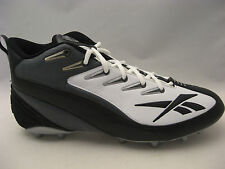 Reebok NFL Equipment Pro 4-Speed III Mid M2 Football Cleats 14 White Black NEW