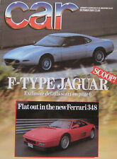 CAR magazine 10/1989 featuring Ferrari 348, Jaguar XJ6, BMW, Merceds, Lexus