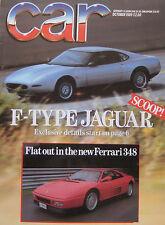 CAR magazine 10/1989 featuring Ferrari 348, Jaguar XJ6, BMW, Merceds, Lexus
