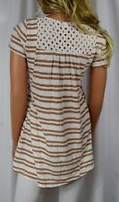MEADOW RUE ANTHROPOLOGIE Marin Caramel & Ivory Stripe Eyelet Top Size M