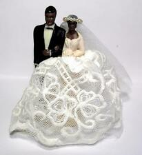"VTG 4 1/4"" SML 1960S AFRICAN AMERICAN WEDDING CAKE TOPPER, REAL LACE & NET VEIL"
