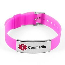 IDtagged Silicone Medical Alert Coumadin Polished Steel Tag ID Bracelet