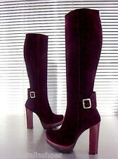 MORI ITALY PLATFORM HEELS KNEE HIGH BOOTS STIEFEL STIVALI SUEDE LEATHER VIOLA 38