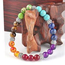 8mm Vintage 7 Chakra Mixed Gemstone Healing Chakra Pray Mala Bracelet Jewelry F
