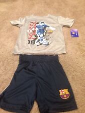 Lionel Messi FC Barcelona T Shirt Tee And Short Combo. Boy's Size 6. Brand New.