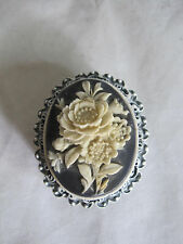 Vintage Cameo Floral Pill Trinket Box Holder Metal Hinged