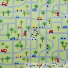 BonEful Fabric FQ Flannel Cotton Quilt Green Red Blue Baby Boy Car Bus Truck Map