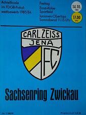 Programm Pokal 1983/84 FC Carl Zeiss Jena - Sachsenring Zwickau