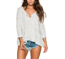 FREE PEOPLE WE THE FREE COASTLINE IVORY LONG SLEEVE THERMAL HENLEY PEPLUM TOP M