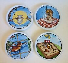 Vintage Gary Patterson Ceramic Cat Lovers Coasters 4 Non-slip Back - Clay Design