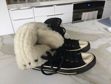 Converse Chuck Taylor Shearling European 7/7.5 Shoes Tennis High Top Suede Black