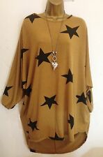 New Lagenlook  Oversized Mustard STAR loose long tunic top Plus 16 18 20  22 24