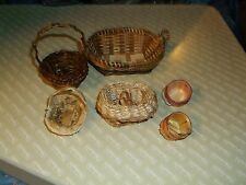 "ksm. b. Dollhouse Miniatures  Variety of 6 Baskets 2 Handle is 1 1/4"" h w/o Hand"