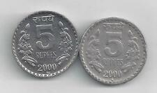 2 NICE 5 RUPEE COINS from INDIA (BOTH DATING 2000 with MINT MARKS of B & R)
